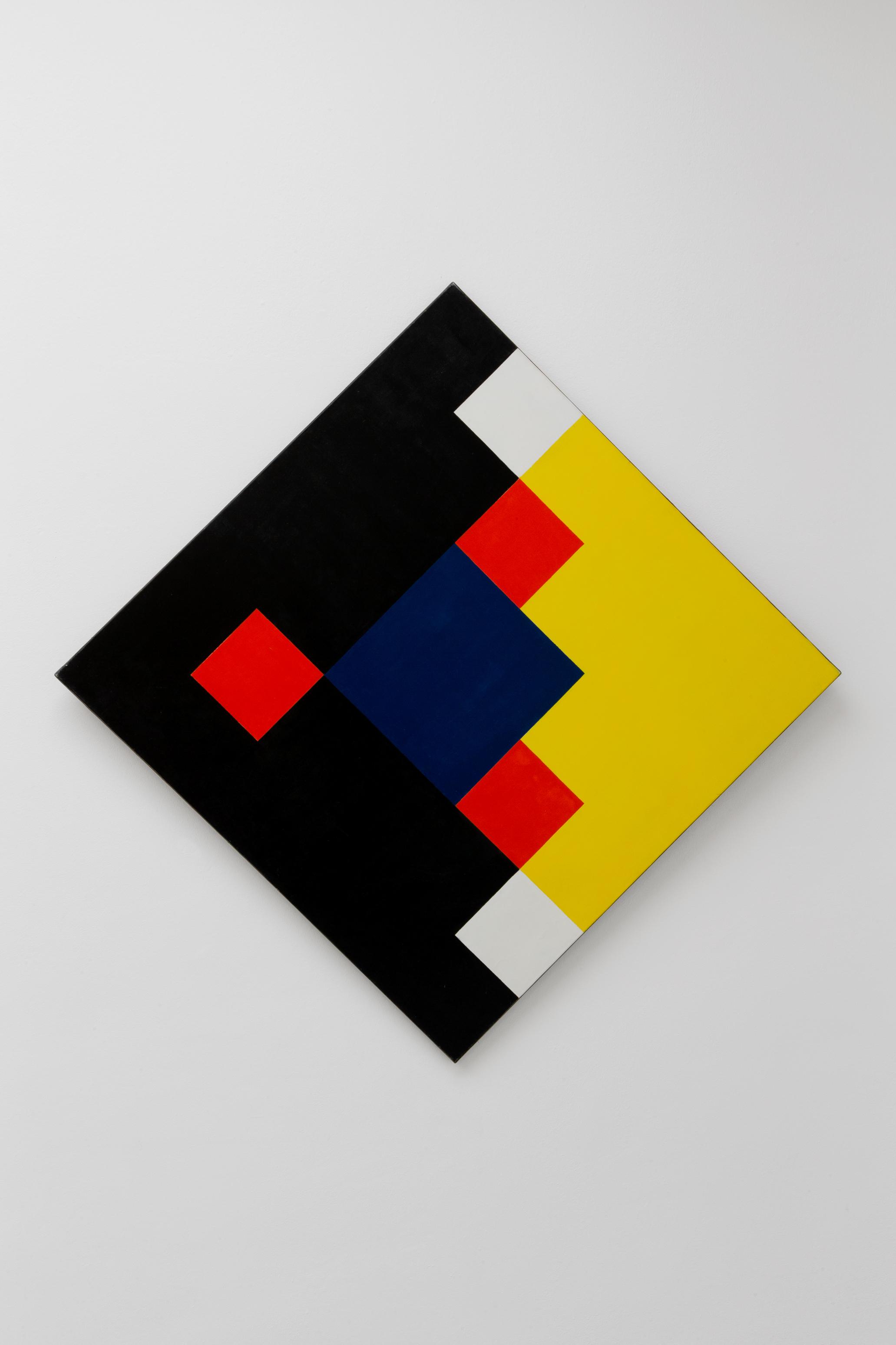 Hedi Mertens,  Blaues Mittelquadrat mit drei roten und zwei weissen Quadraten , 1971, oil on canvas, 100 x 100 cm
