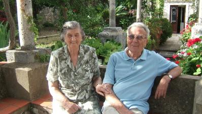 Vjera and Ivo in their garden