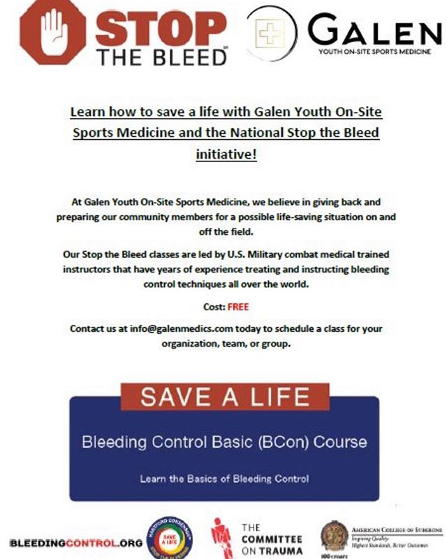 Galen is excited to announce we are certified in Stop the Bleed training. #galengivesback #stopthebleed #galenmedics