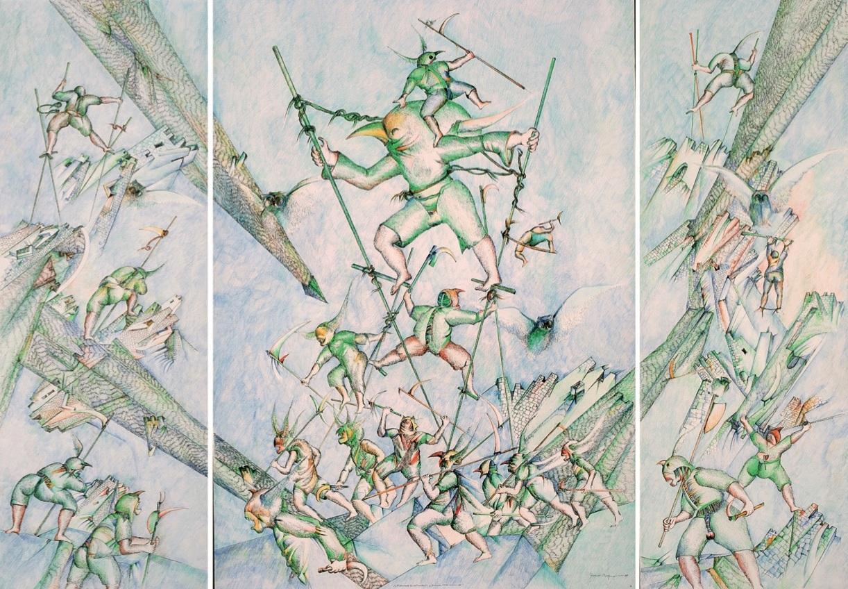 Tonino Cragnolini, Zoiba Grassa 1511, 1989, disegno, inchiostro, colorato, acquarello, pastello, 200x140 cm, collezione Fondazione Friuli