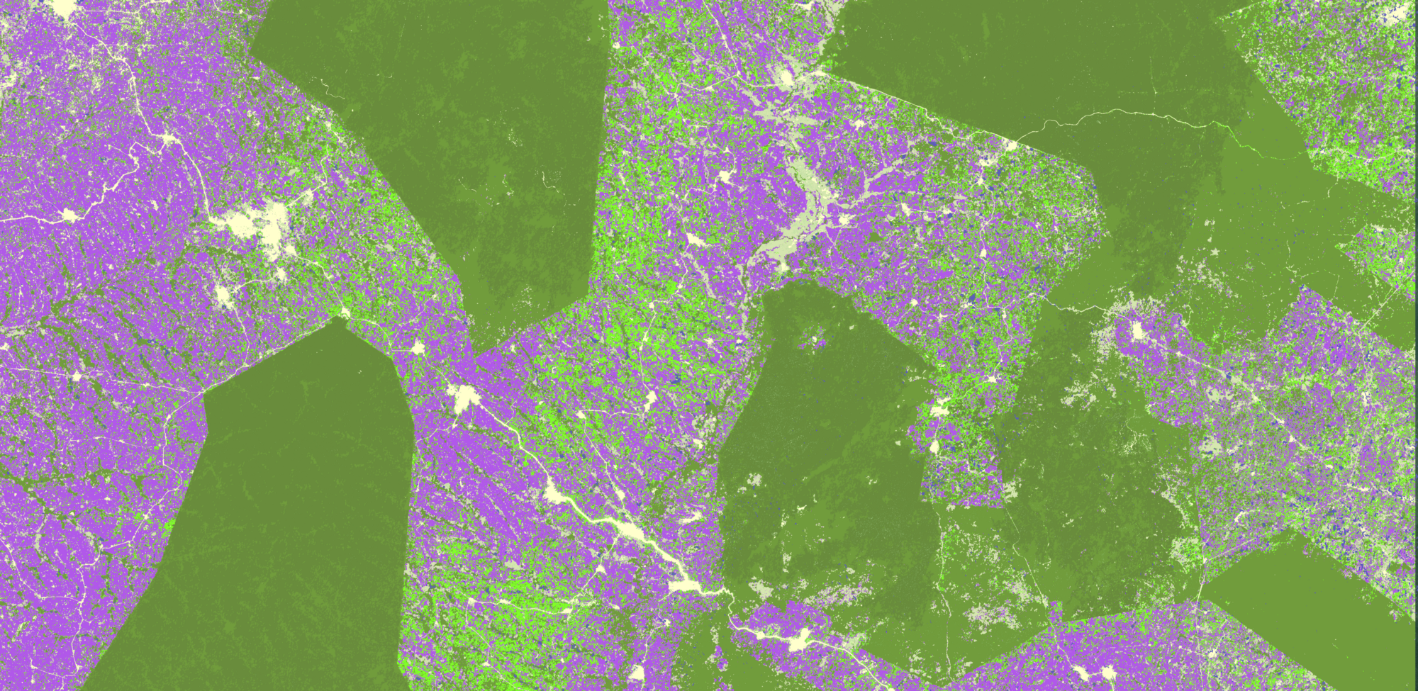 Cocoa and forest landscape in Ghana mapped by Satelligence, Ghanian GIS experts, with support from SNV, Forestry Commission of Ghana and Touton.