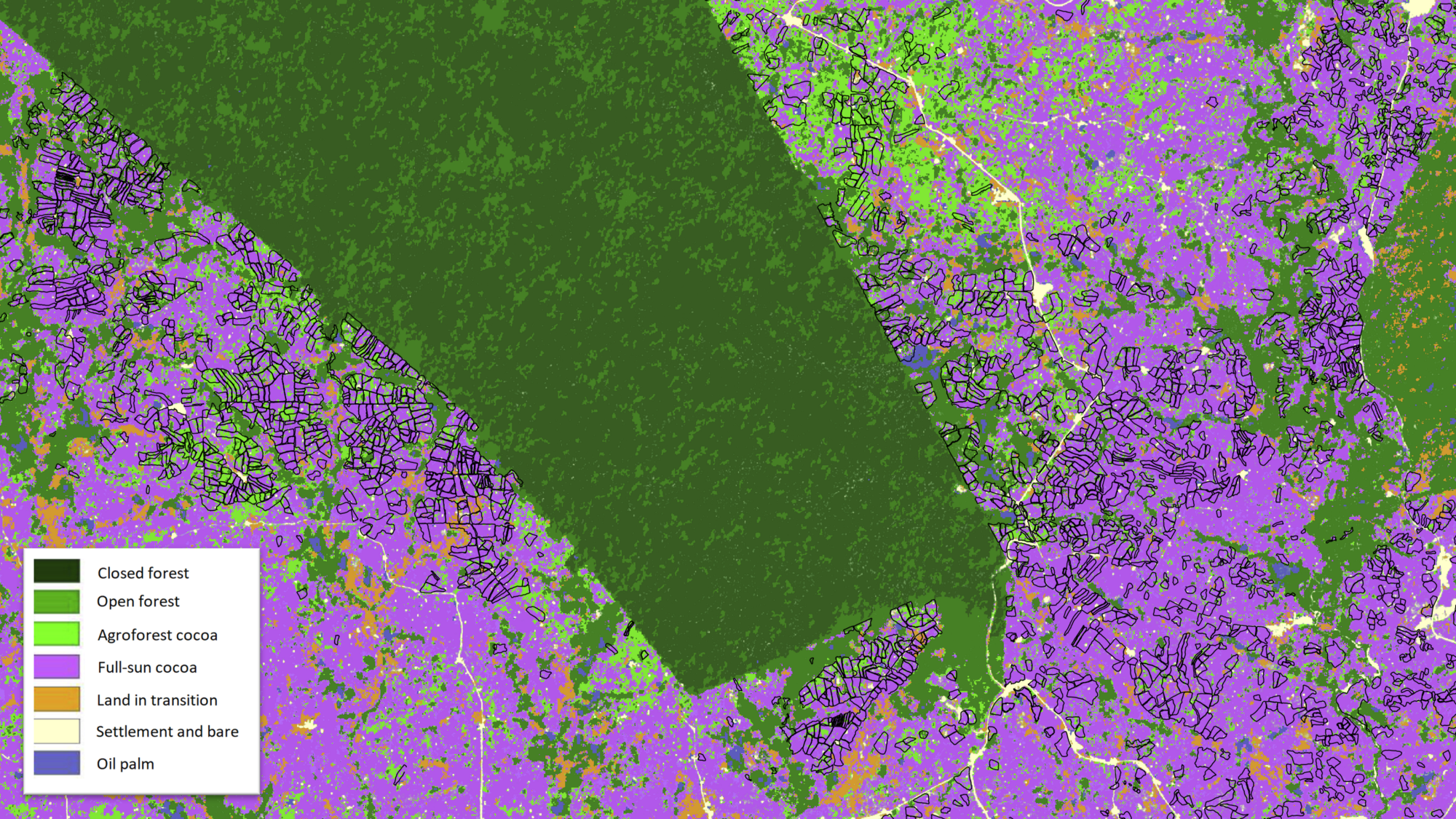 Farm data produced by Touton (black lines) overlaid on map product produced by Satelligence. Courtesy 3PRCL landscape project led by Touton. Partnership for Productivity Protection and Resilience in Cocoa Landscape. Colour scheme according to local expert preference.