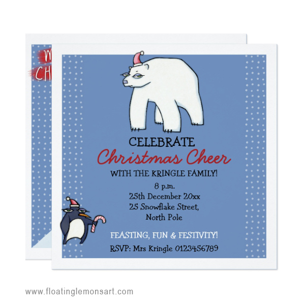 01 Polar Bear Christmas blue Invitation by FloatingLemonsArt.jpg