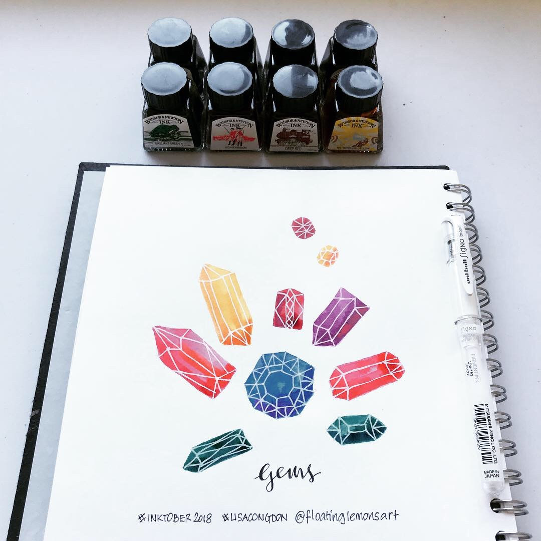 Inktober day 4: Gems