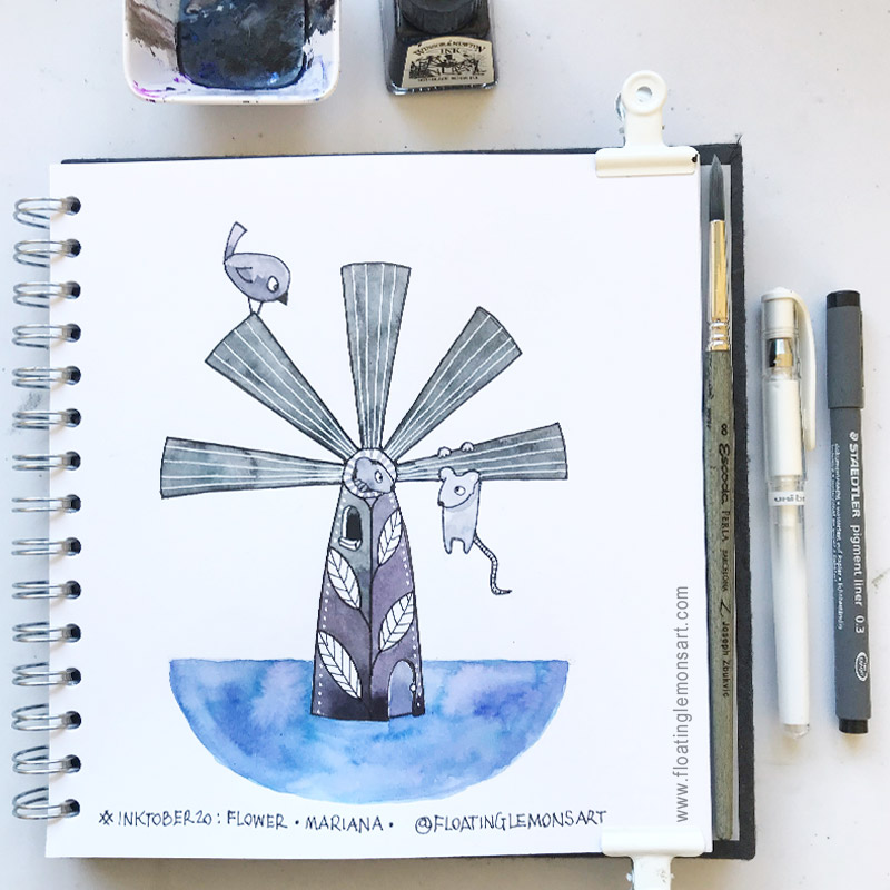 Inktober 20: Flower (stylised into a windmill!)