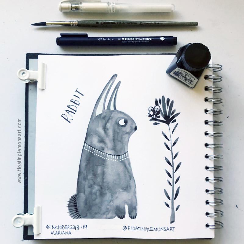 Inktober 19: Rabbit (and a wee bee that flew in!)