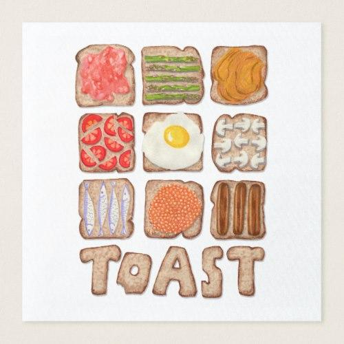 Breakfast Toast Paper Napkins:  USA  and  UK