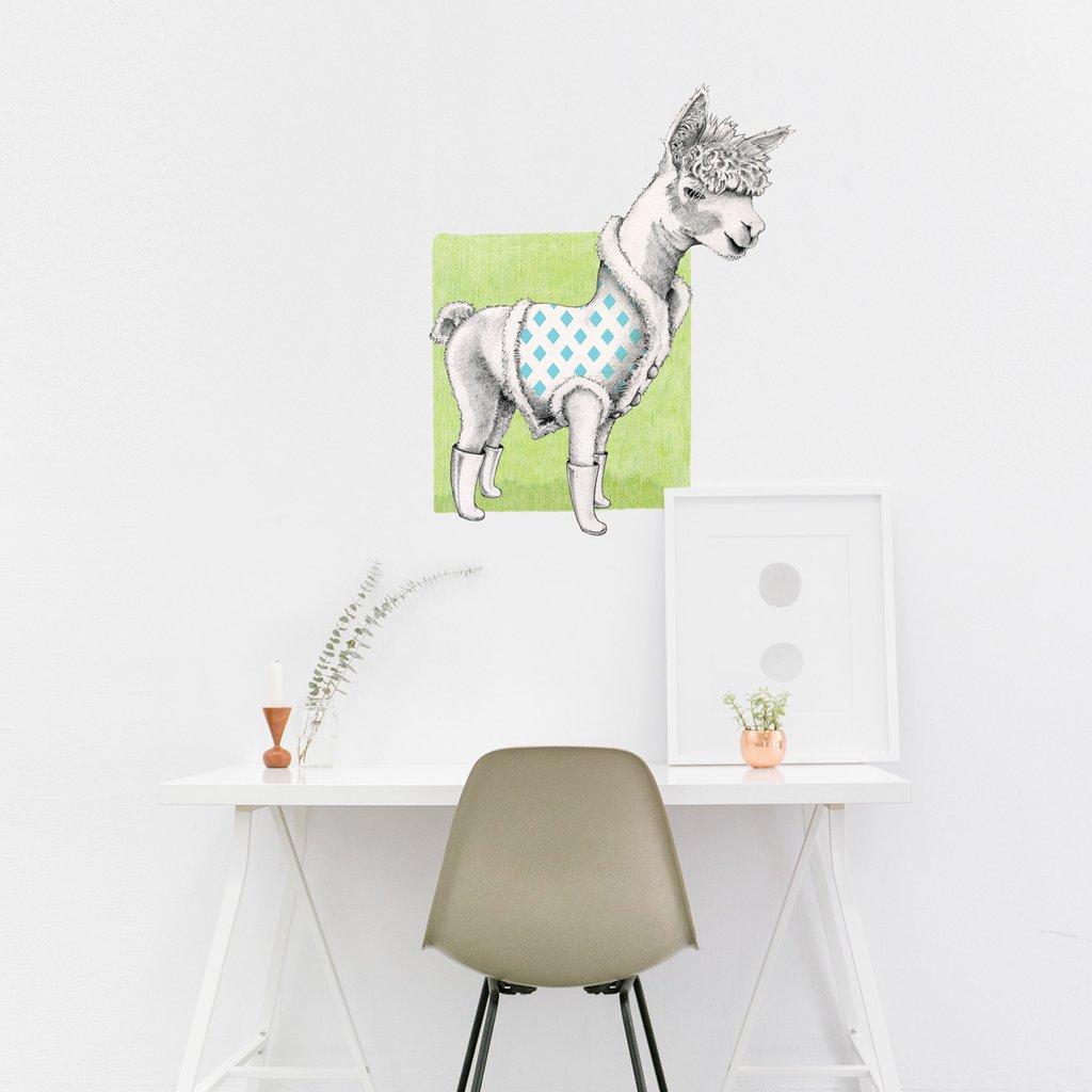 Alpaca on Green interior decor art sticker decal by Floating Lemons Art