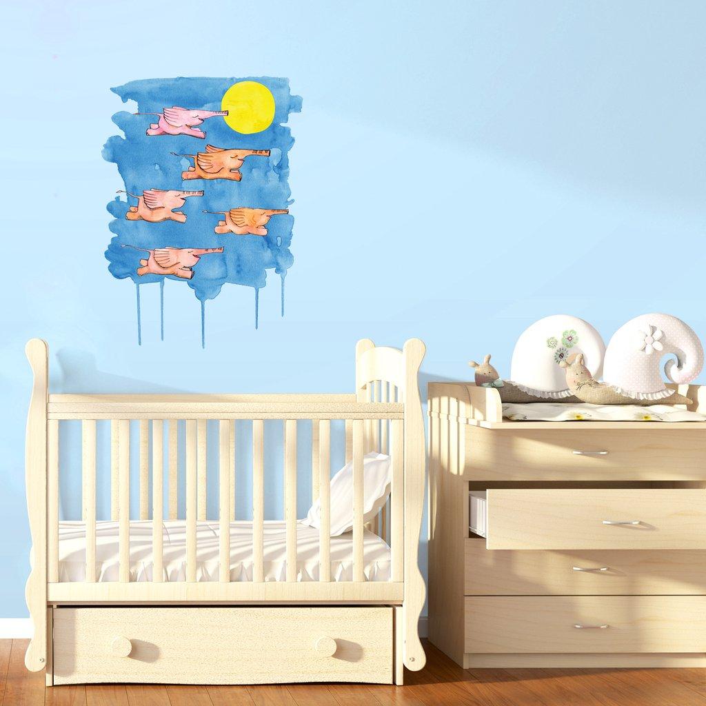 Flying Elephants interior decor art sticker decal by Floating Lemons Art