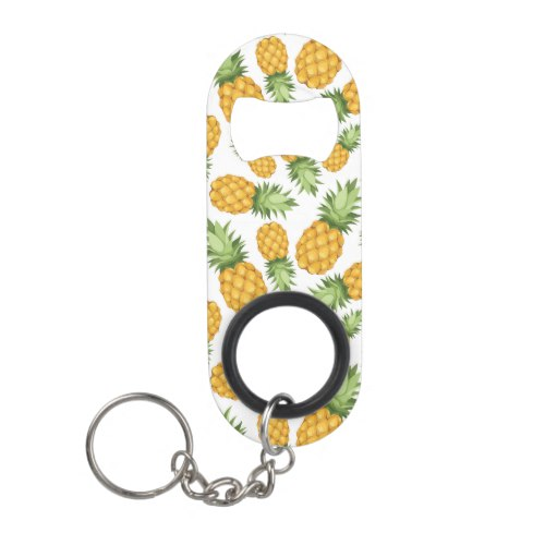 Cartoon Pineapple Pattern Keychain Bottle Opener by  Foodie Collection  for Zazzle  USA  and  UK