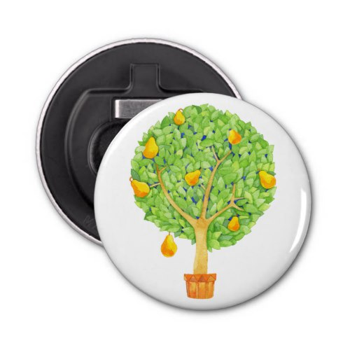Pear Tree Round Bottle Opener by  Floating Lemons  for Zazzle  USA  and  UK