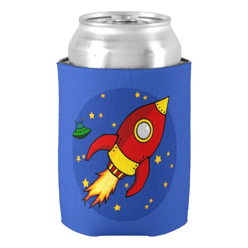 Rocket red yellow Can Cooler by  Floating Lemons  for Zazzle  USA  and  UK