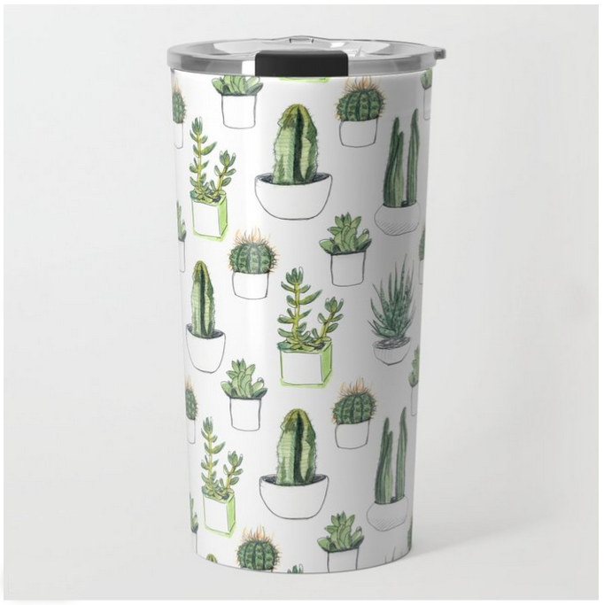 Watercolour Cacti & Succulents Travel Mug  by  Vicky Webb AKA Crumpetsandcrabsticks  for Society6
