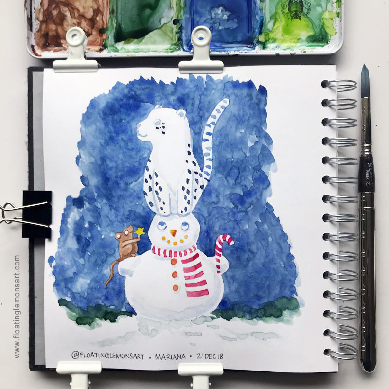 Snow Leopard on Snowman by Mariana: Floating Lemons Art