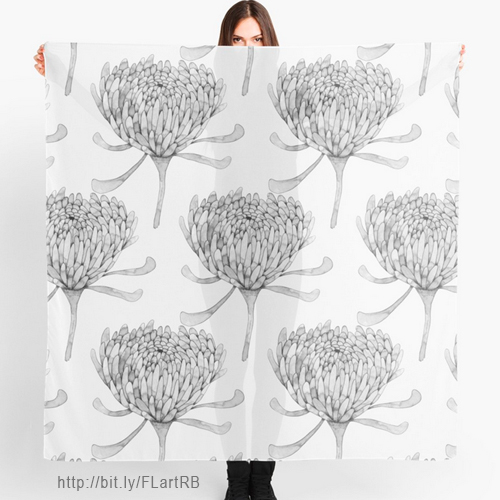 Ink Chrysanthemum Scarves by Floating Lemons Art for Red Bubble