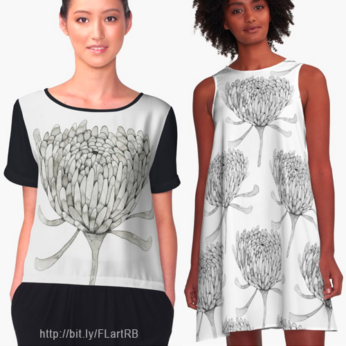 Ink Chrysanthemum  Chiffon Top  and  A-line dress  by Floating lemons Art for Red Bubble