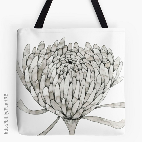 Ink Chrysanthemum Tote Bags by Floating Lemons Art for Red Bubble