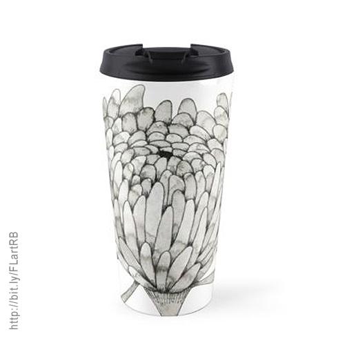 Ink Chrysanthemum Travel Mugs by Floating Lemons Art for Red Bubble