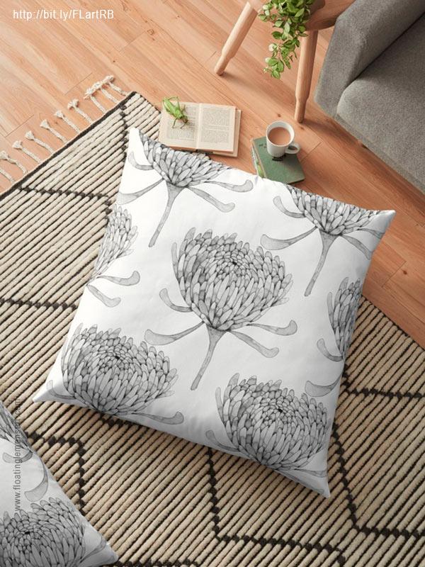 Ink Chrysanthemum Floor Pillows by Floating Lemons Art for Red Bubble