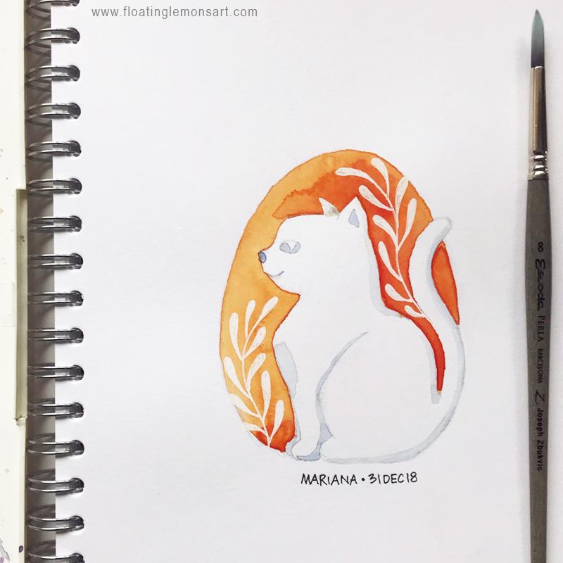 White Cat by Mariana : Floating Lemons Art