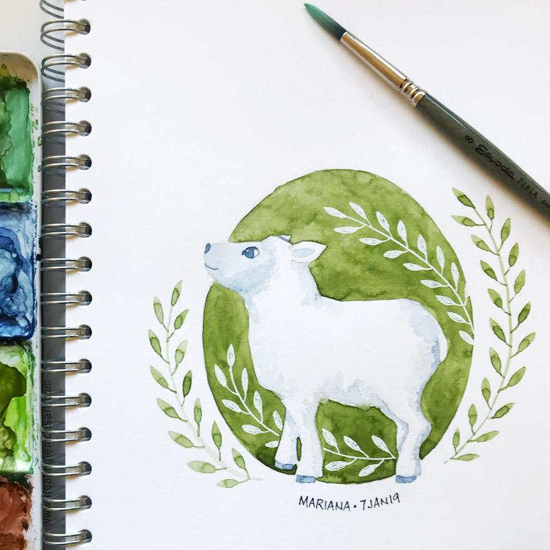 Lamb Circle by Mariana :  Floating Lemons Art