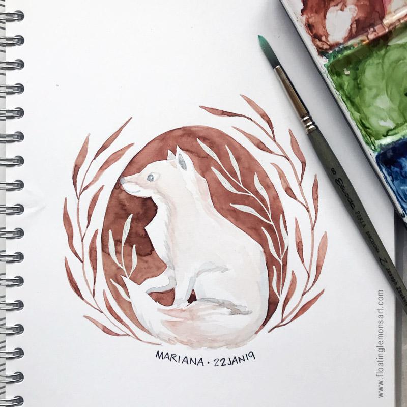 Fox in Circle by Mariana :  Floating Lemons Art