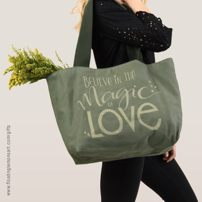 Magic of Love Canvas Utility Tote: Floating Lemons Art