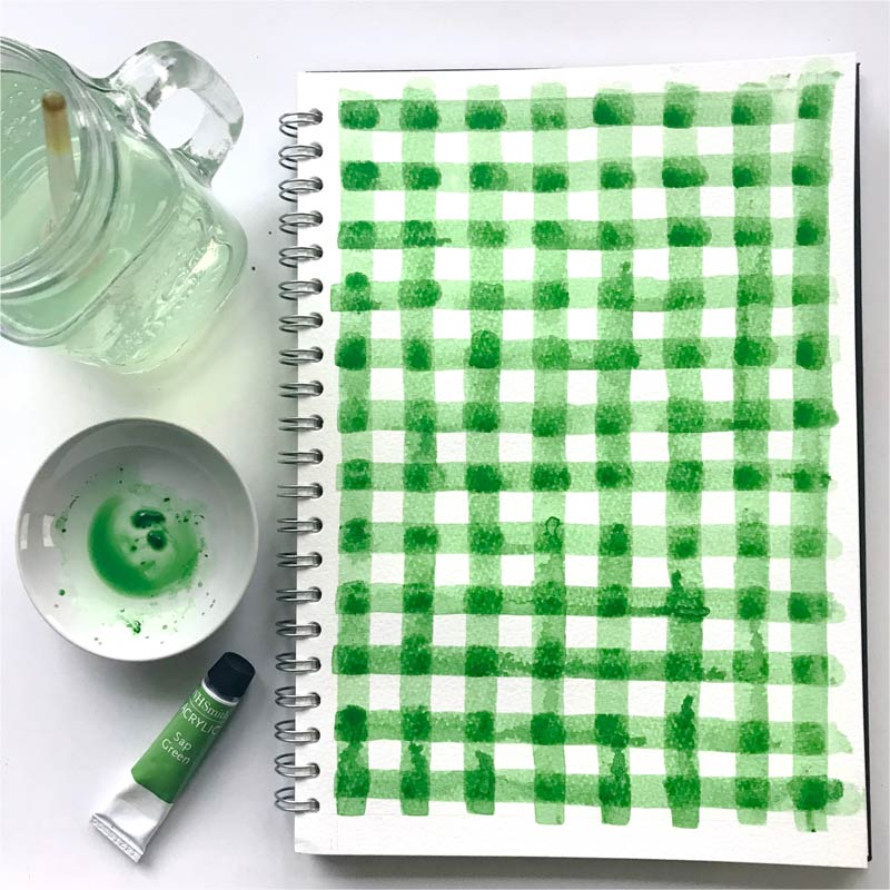 Gingham Green by  Floating Lemons Art