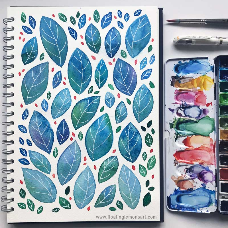 Blue Green Leaves by  Floating Lemons Art
