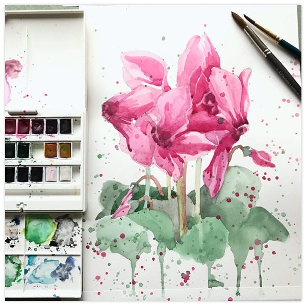 Crazy Cyclamens by  Floating Lemons Art