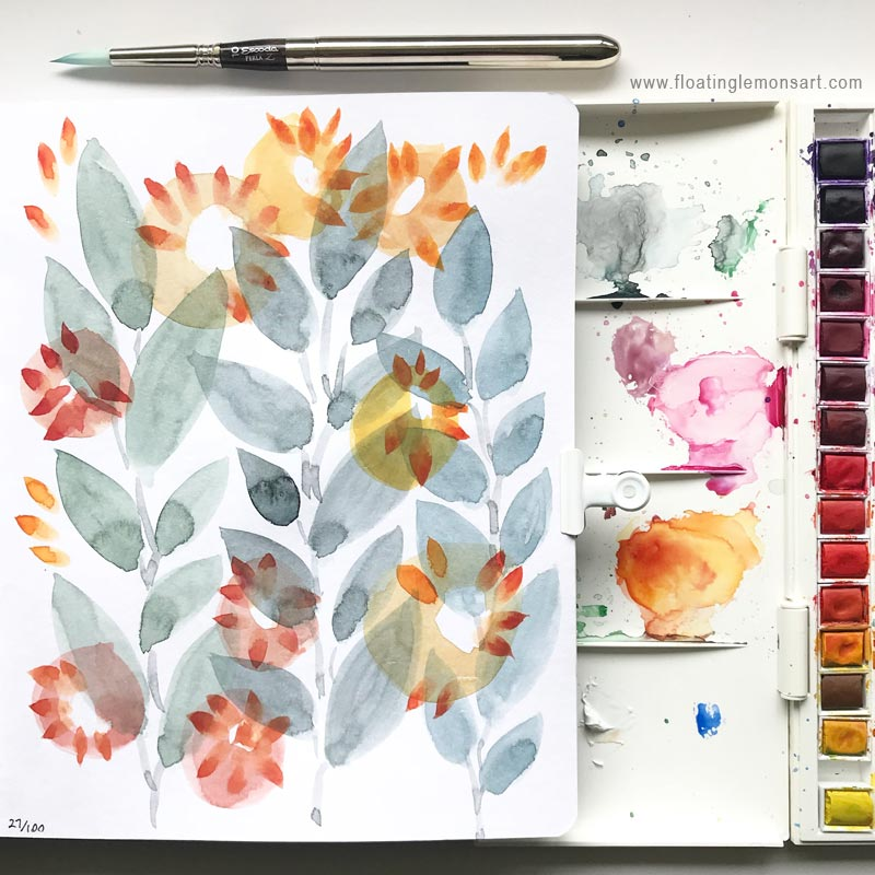 Grey Orange Florals by  Floating Lemons Art
