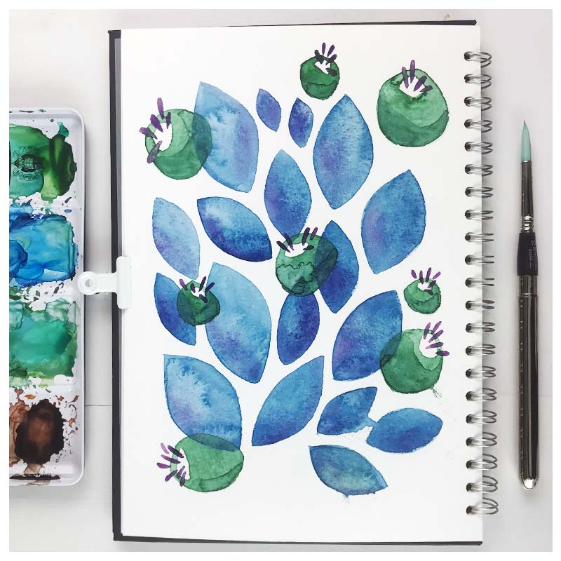 Leaves and Blobs by  Floating Lemons Art
