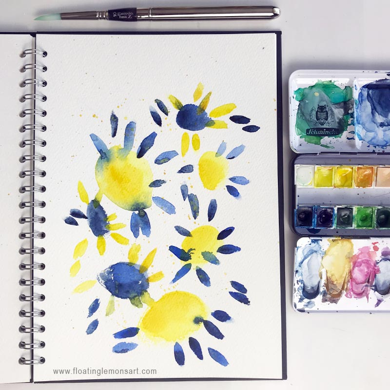 Sunny Blue Flowers by  Floating Lemons Art