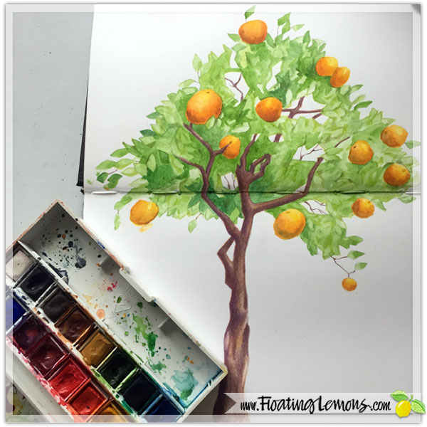 Watercolour Orange Tree by  Floating Lemons Art