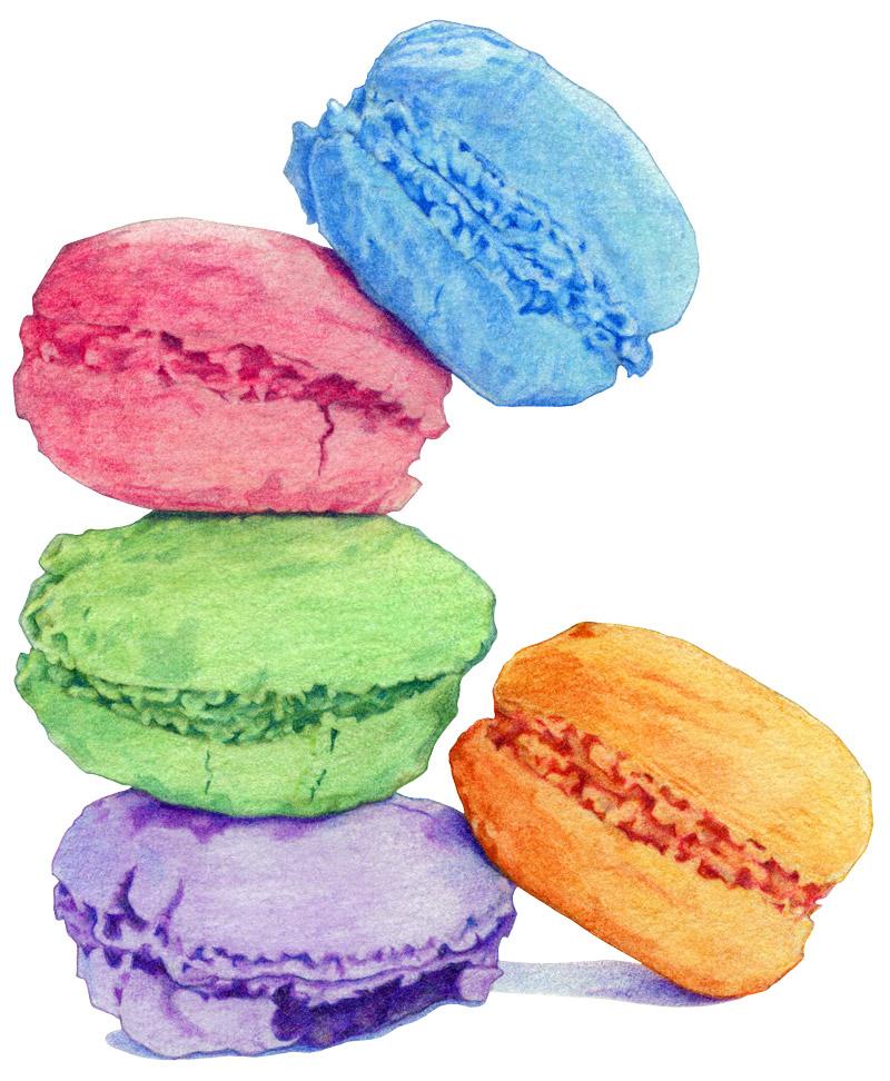 Five Macarons by Mariana:  Floating Lemons Art