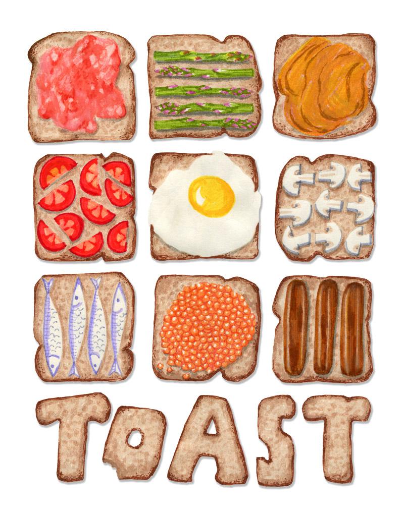 Breakfast Toast by Mariana:  Floating Lemons Art