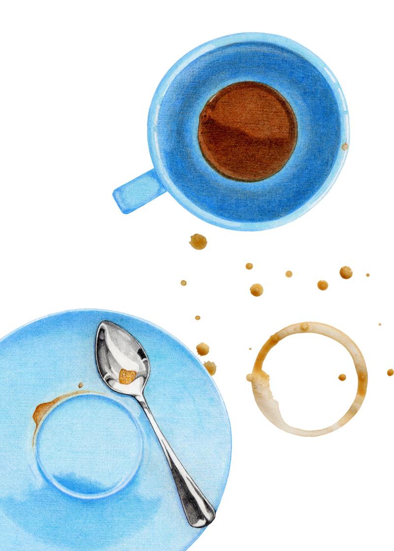 Coffee Break 1 by Mariana:  Floating Lemons Art