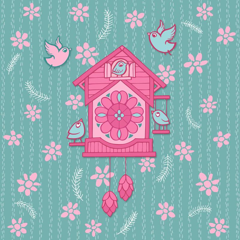 Cuckoo Clock pink by Mariana:  Floating Lemons Art