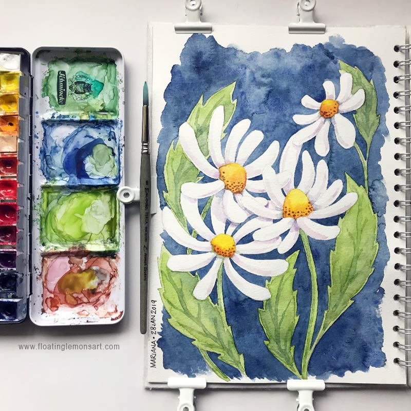 Daisies by Mariana:  Floating Lemons Art