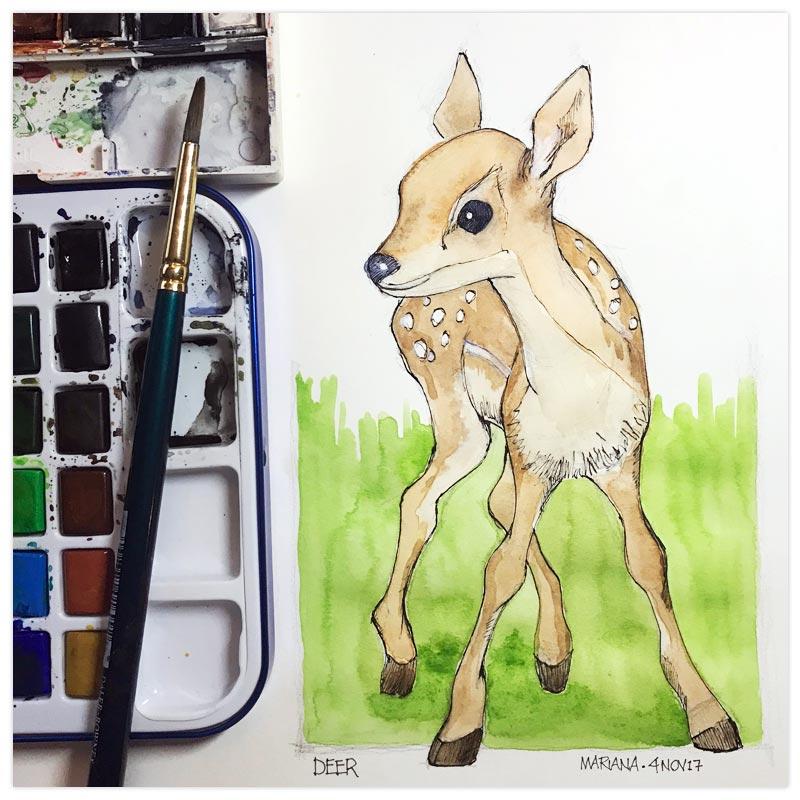 Deer by Mariana:  Floating Lemons Art