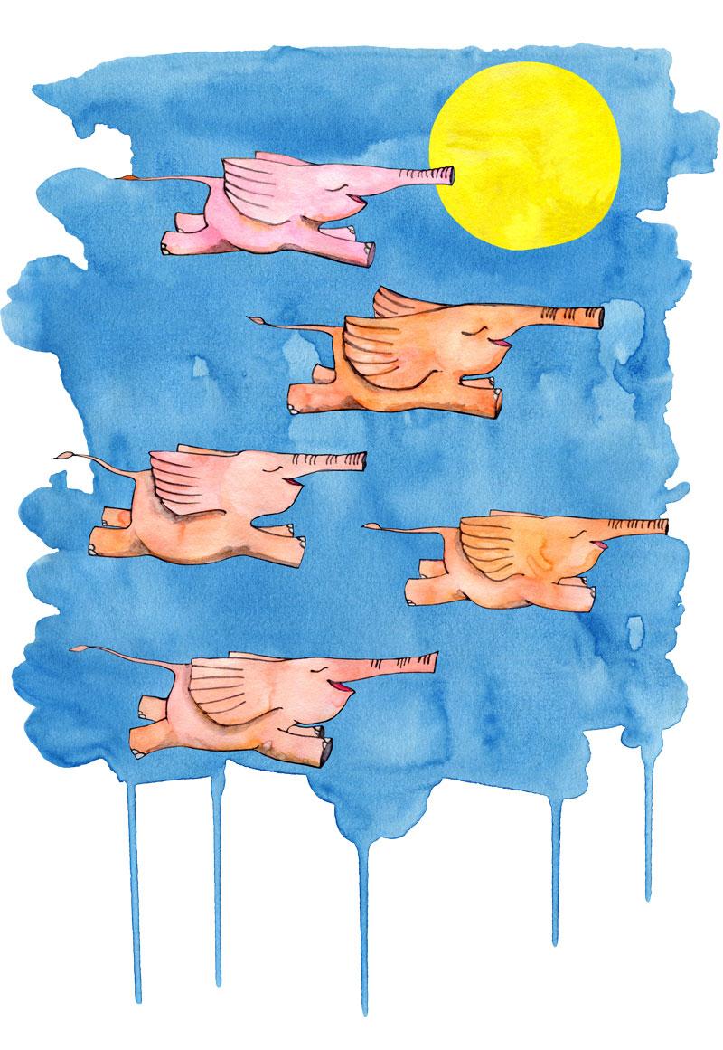 Flying Elephants by Mariana:  Floating Lemons Art