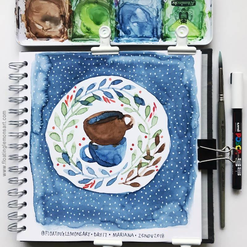 Teacups Wreath by Mariana:  Floating Lemons Art