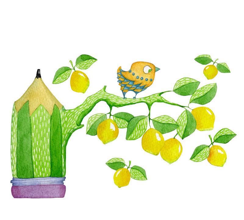 Pencil Tree by Mariana:  Floating Lemons Art