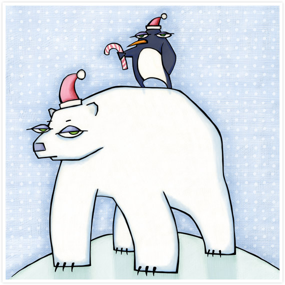 Polar Bear Christmas by Mariana:  Floating Lemons Art