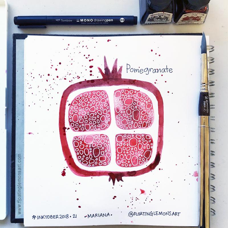 Pomegranate by Mariana:  Floating Lemons Art