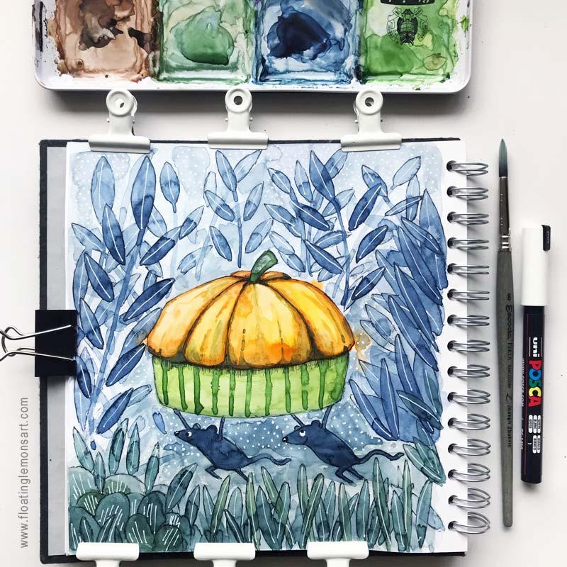 Runaway Pumpkin Pie by Mariana:  Floating Lemons Art