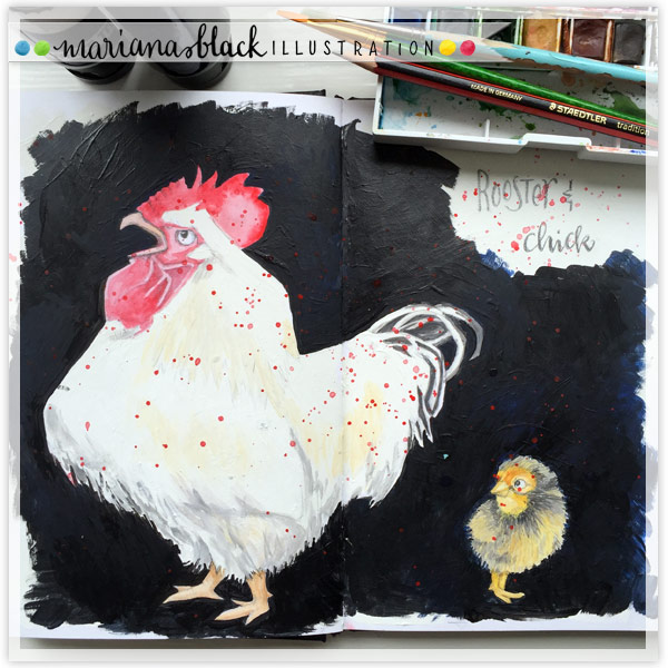 Rooster and Chick by Mariana:  Floating Lemons Art
