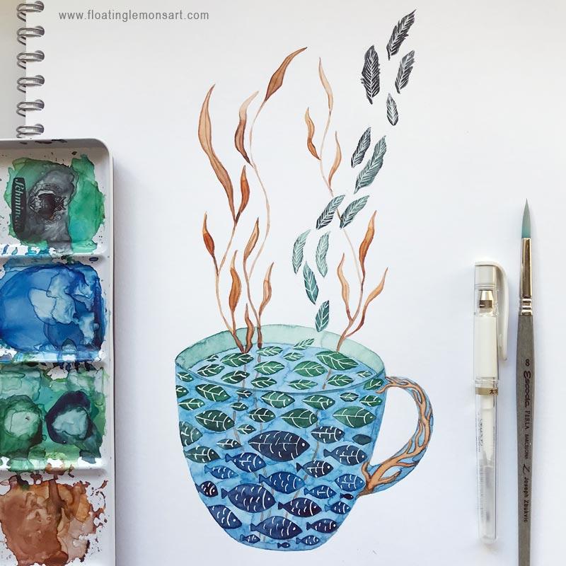 Teacup Fish Leaves by Mariana:  Floating Lemons Art