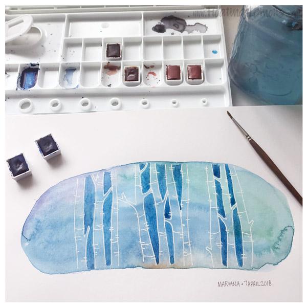 Trees on Blue Wash by Mariana:  Floating Lemons Art