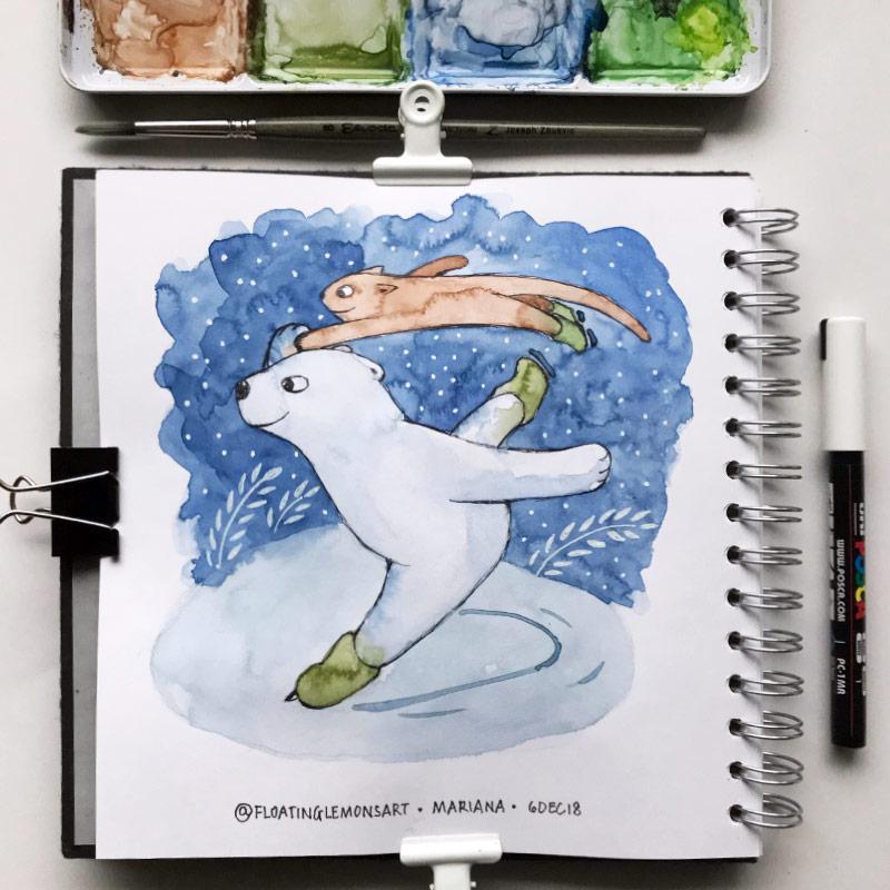 Ice-skating Bear Cat by Mariana:  Floating Lemons Art